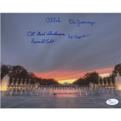 WWII Memorial Night 8x10 Photo Singed by (5) With Richard E. Cole, Bud Anderson, Bob Bearden, Donald
