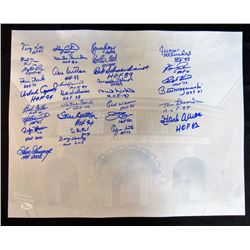 Hall of Famers 16x20 Signed by (32) with Hank Aaron, Gary Carter, Ozzie Smith, Goose Goosage, Tom La