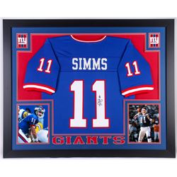 Phil Simms Signed Giants 35.5x43.5 Custom Framed Jersey Display (JSA COA)