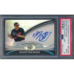 2011 Bowman Platinum Prospect Autograph Refractors #MM Manny Machado (PSA 9)