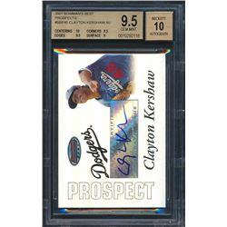 2007 Bowman's Best Prospects #BBP45 Clayton Kershaw AU RC (BGS 9.5)