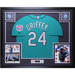 "Ken Griffey Jr. Signed Mariners 35x43 Custom Framed Jersey Display Inscribed ""HOF 16"" (TriStar)"