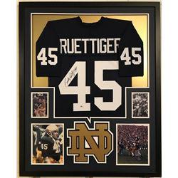Rudy Ruettiger Signed Notre Dame Fighting Irish 34x42 Custom Framed Jersey (Beckett COA)