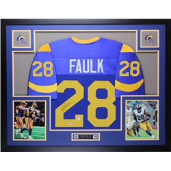 Marshall Faulk Signed Rams 35x43 Custom Framed Jersey Display (PSA COA)