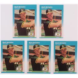 Lot of (5) 1987 Fleer Update Glossy #76 Mark McGwire
