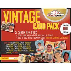 """VINTAGE CARD PACK"" – Sportscards.com 1953-60's Baseball (15 Cards) Mystery Pack!"
