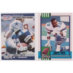Lot of (2) Emmitt Smith Football Cards with 1990 Topps Traded #27T RC  1990 Pro Set #685 RC