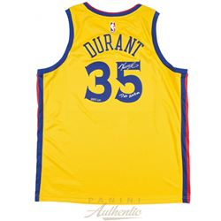 "Kevin Durant Signed LE The City Edition Jersey Inscribed ""Dub Nation"" (Panini COA)"