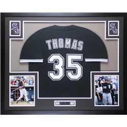 Frank Thomas Signed White Sox 35x43 Custom Framed Jersey (JSA COA)