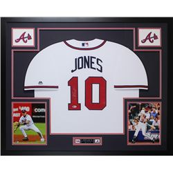 Chipper Jones Signed Braves 35x43 Custom Framed Jersey (Beckett COA)