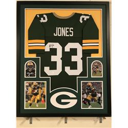 Aaron Jones Signed Packers 34x42 Custom Framed Jersey (JSA COA)