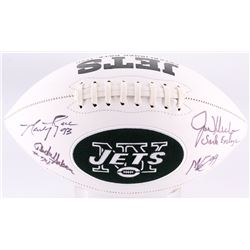 Jets Logo Football Signed by (4) With Joe Klecko, Abdul Salaam, Mark Gastineau  Marty Lyons Inscribe