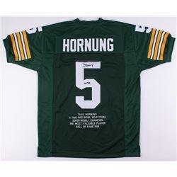 "Paul Hornung Signed Packers Career Highlight Stat Jersey Inscribed ""HOF '86"" (JSA COA)"