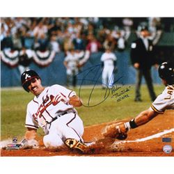 "Sid Bream Signed Braves 16x20 Photo Inscribed ""The Slide 10/14/92""  ""Romans 10:13"" (Radtke Hologram)"