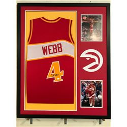 Spud Webb Signed Hawks 34x42 Custom Framed Jersey (JSA COA)
