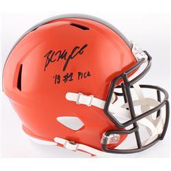 "Baker Mayfield Signed Browns Full-Size Custom Matte Orange Speed Helmet Inscribed ""18 #1 Pick"" (Radt"