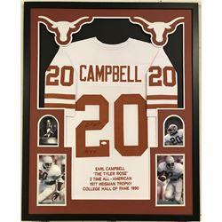 Earl Campbell Signed Texas Longhorns 34x42 Custom Framed Career Highlight Stat Jersey (JSA COA)