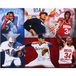 Nolan Ryan, Earl Campbell  Hakeem Olajuwon Signed Houston Hall of Famers 16x20 Photo (JSA COA  Ryan