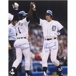 """Alan Trammell  Lou Whitaker Signed Tigers 16x20 Photo Inscribed """"84 Champs!""""  """"84 WS MVP"""" (JSA COA)"""