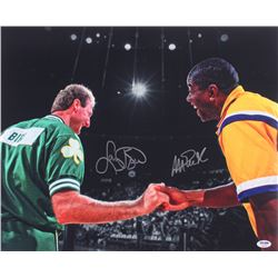 Magic Johnson  Larry Bird Signed 16x20 Photo (PSA LOA)