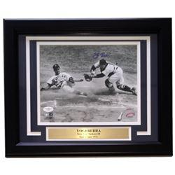 Yogi Berra Signed Yankees 11x14 Custom Framed Photo Display with Engraved Nameplate (JSA COA)