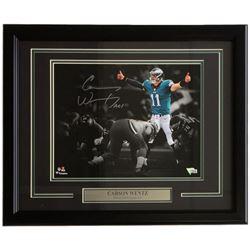 "Carson Wentz Signed Eagles 18x22 Custom Framed Photo Display Inscribed ""AO1"" (Fanatics)"