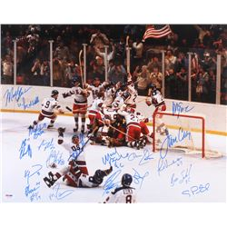 """1980 Team USA """"Miracle On Ice"""" 16x20 Photo Signed by (20) with Mike Eruzione, Jim Craig, Neal Broten"""