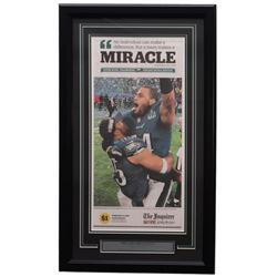 Eagles 18x30 Custom Framed 2018 Super Bowl 52 Miracle Newspaper Page Display