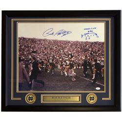 Rudy Ruettiger Signed Notre Dame Fighting Irish 22x27 Custom Framed Photo Display with Hand-Drawn Pl