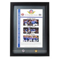 Chicago Cubs 2016 World Series Poster 18x25 Custom Framed Display with (2) Replica World Series Ring