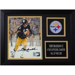 Terry Bradshaw Signed Steelers 14x18.5 Custom Framed Photo Display (Beckett COA  Bradshaw Hologram)