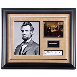 Abraham Lincoln 19.5x23.5 Custom Framed Cut Display with (1) Hand-Written Word from Letter (JSA LOA
