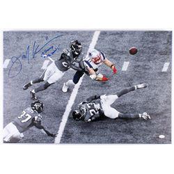 "Julian Edelman Signed Patriots 20x30 Custom Framed Photo on Canvas Inscribed ""SB Champ""  ""The Catch"""