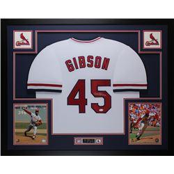 Bob Gibson Signed Cardinals 35x43 Custom Framed Jersey (JSA COA)