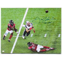 "Julian Edelman Signed Patriots 20.25x26.5 Custom Framed Photo on Canvas Inscribed ""The Catch"" (JSA C"