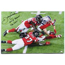 "Julian Edelman Signed Patriots 20.25x30 Custom Framed Photo on Canvas Inscribed ""Got 2 Believe!""  ""T"