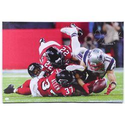 "Julian Edelman Signed Patriots 20.25x30 Custom Framed Photo on Canvas Inscribed ""The Catch"" (JSA COA"