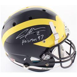 "Charles Woodson Signed Michigan Wolverines Full-Size Helmet Inscribed ""Heisman 97"" (Radtke COA)"