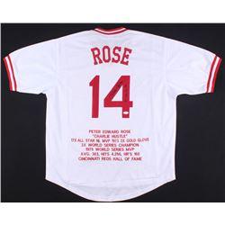 """Pete Rose Signed Reds Career Highlight Stat Jersey Inscribed """"4256"""" (JSA Hologram)"""