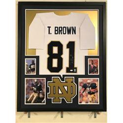 Tim Brown Signed Notre Dame Fighting Irish 34x42 Custom Framed Jersey (JSA COA)