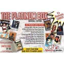 """THE PLATINUM BOX"" Premium Baseball Card Mystery Box - 10 HITS PER BOX!"