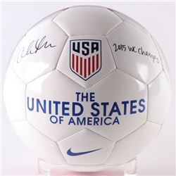 "Christen Press Signed Team USA Logo Soccer Ball Inscribed ""2015 WC Champs"" (JSA COA)"