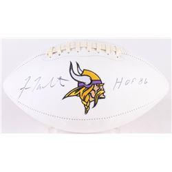 """Fran Tarkenton Signed Vikings Logo Football Inscribed """"HOF 86"""" (JSA COA)"""