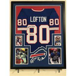 """James Lofton Signed Bills 34x42 Custom Framed Jersey Display Inscribed """"HOF 03"""" (JSA COA)"""
