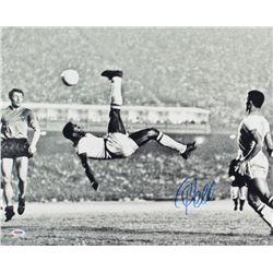 Pele Signed 1965 Bicycle Kick 16x20 Photo (PSA COA)