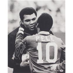 Pele Signed 16x20 Photo With Muhammad Ali (PSA COA)