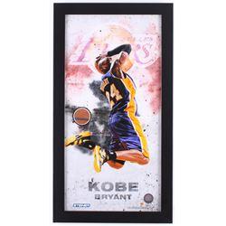 Kobe Bryant Lakers 12x22 Custom Framed Display with Authentic Team-Used Basketball Cut (Steiner COA)