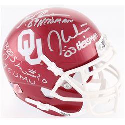 Jason White, Steve Owens,  Billy Sims Signed Oklahoma Sooners Mini Helmet with (3) Heisman Inscripti