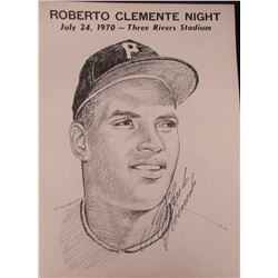 """Roberto Clemente Signed Pirates 17x23 """"Roberto Clemente Night"""" Poster (PSA LOA)"""