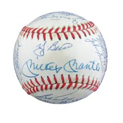1961 New York Yankees Team-Signed OAL Baseaball with (33) Signatures Including Mickey Mantle, Yogi B